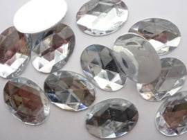 12 stuks L strass stenen van 25x17mm ovaal kunststof zilver - SUPERLAGE PRIJS!