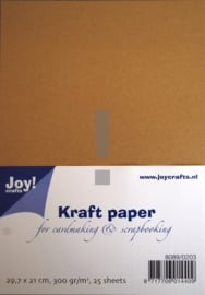 JOY8089/0204- 25 vel kraft papers 300grams A5-formaat bruin (extra dik)