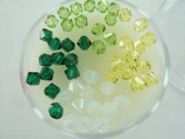 2208 584- 48 stuks swarovski kralen bicone 4mm groen tinten
