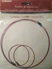 117453/7110- 2 x staaldraad ketting 45cm & 2 x staaldraad armband 18cm roze