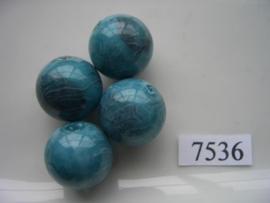 7536- 18mm turqoise/blauwe kunststofkraal marmer