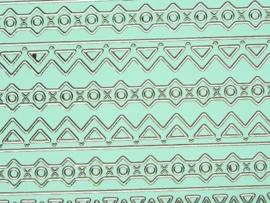 st726- sticker met diverse randjes van 10-15mm breed mintgroen 10x20cm