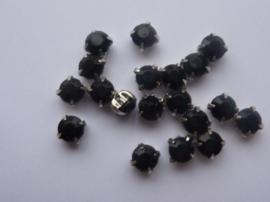 CH.010- 20 stuks rijgstrass / naaistrass van 5mm zwart