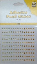 CE142010/2304- 150 stuks zelfklevende halfronde parels van 3mm geel tinten