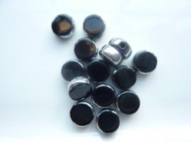3703- 14 stuks electroplated glaskralen 10x4mm hoogglans zwart/zilver - SUPERLAGE PRIJS!