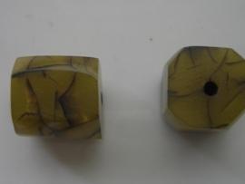 resin kraal 21x20mm mosgroen geaderd 117465/4511KA
