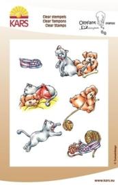 "00133.E- Kars Erica Pels clear stempels ""story animals play"" 14x18cm OPRUIMING"