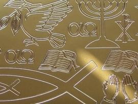 600- diverse condolatie afbeeldingen goud 10x20cm
