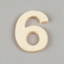 2227 1562- 2cm houten cijfer 6
