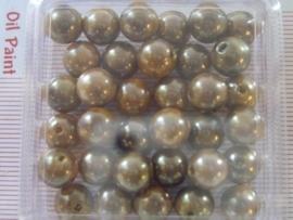 33 x kunststof kralen 8mm rond bruin/goud 117206/603