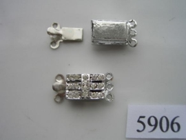 5906- 3 rij luxe siersluiting strass 20x10mm verzilverd