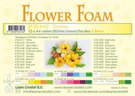 CE800205/4162- 10 sheets flower foam sheets A4 - oranje