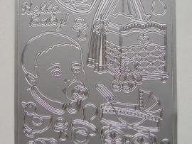 195- diverse figuren geboorte zilver 10x20cm