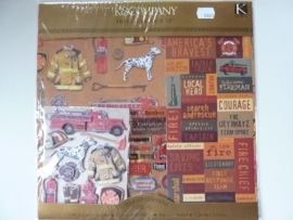 "5905- scrapkit ""fire fighter"" incl. 6 x scrappapier 30.5x30.5cm & diverse stickers"