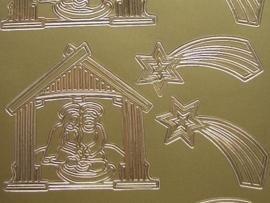st 641- kerststal + kerstster goud 10x20cm