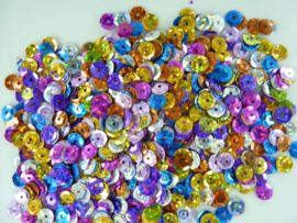 10 gram 6 mm. facon pailletten met gltters - kleurenmix