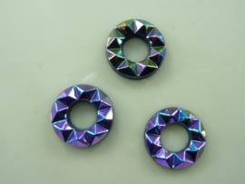 5144- 3 stuks glasstenen 14x3mm rond oliezwart