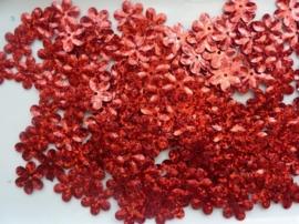 118372/440- 10gram (ca. 160 stuks) pailletten bloemetjes 15mm glitter rood