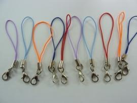 CH.103- 10 stuks telefoonhangers met karabijnslotje 65mm kleuremix