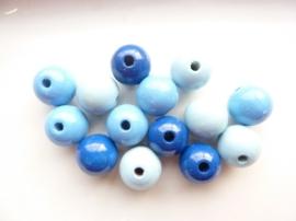 6032 340- 15 x houten kralen mix blauw van 15mm