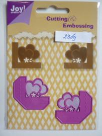 0002369- Joy0128- stencil 2 stuks hoekjes met hartje OPRUIMING