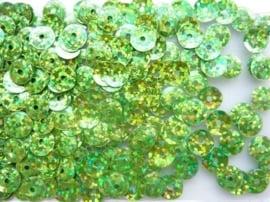 118372/472- 10gram facon pailletten van 8mm in glitter lichtgroen (grote hoeveelheid!)
