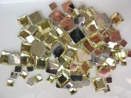 2282 010- 110 x kunststof strass stenen assortiment vierkanten van 6/10/12mm geel