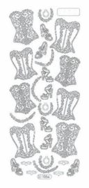 st926- stickervel met bustiere zilver 10x23cm  -  121001/1187
