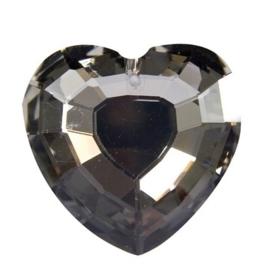 117471/6321- glazen facet geslepen hanger hart 32mm black diamond