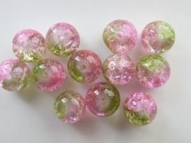 4086- 12 stuks qraccle glaskralen van 10mm roze/groen