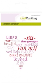 CE130501/1106- clearstamps A6 hart met lieve teksten