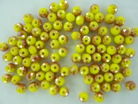 1353- ca. 100 stuks geslepen electroplated glaskralen van 6x4mm geel AB