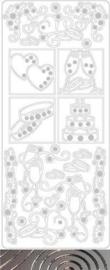 st-761-121001/5121- stickervel wedding2 ZILVER 10x23cm