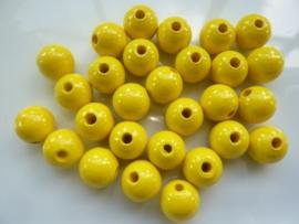 KN6021 056- 28 stuks houten kralen 12mm geel