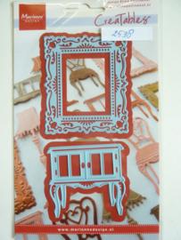 0002538- Marianne Design Creatables stencil nr.268 kastje en schilderij 6x7cm OPRUIMING