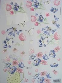 kn/564- A4 Mop knipvel AANBIEDING vlinders en bloemen