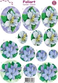 660- pyramide knipvel Foliart bloemen wit/blauw A4 -117149/0680