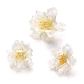 6529 790- 36 stuks decoratie bloemen van 2.5 tot 3cm wit