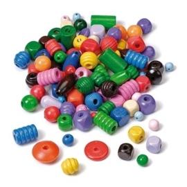 6039 995- 150gram houten kralenmix diverse vormen en kleuren in een zak