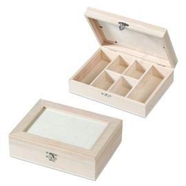 KN8735 423- 3 stuks houten vakkendozen 21.5x16x6cm