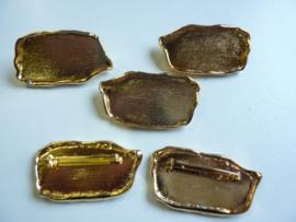 SLK.101- 5 stuks broches van 5x2.5cm goudkleur OPRUIMING
