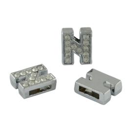 letter N - leerschuiver met strass steentjes zilver 13mm