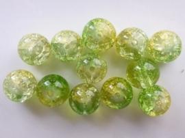 4087- 12 stuks qraccle glaskralen van 10mm lichtgroen/geel