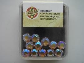 107004/0055- 28 stuks glazen rijg/naai strass steentjes 4mm rond kristal topaz  AB