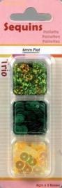 118370/7306- paillettentrio 6mm plat groen 12gr