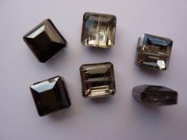 3732- 6 stuks electroplated glaskralen 13x13x7mm zwart/zilver - SUPERLAGE PRIJS!