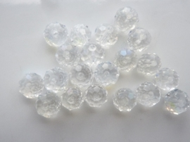 1878- 20 stuks electroplated geslepen glaskralen van 8x6mm crystal AB