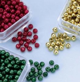CE460120/0314- ca. 600 stuks kunststof parels 3mm rood/groen/goud