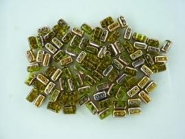808- ca. 90 stuks glaskralen met 4 gaatjes 5x3mm geel/brons