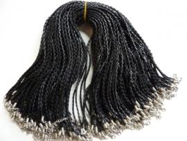 CH.001Y.100- 100 stuks kant en klare halsketting gevlochten zwart imitatie leder halsketting 48cm - SUPERLAGE PRIJS!
